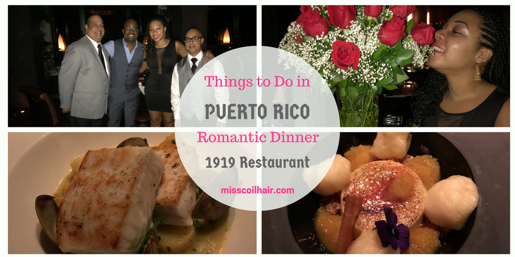Dinner at 1919 Restaurant Vanderbilt Hotel while visiting Puerto Rico| misscoilyhair.com
